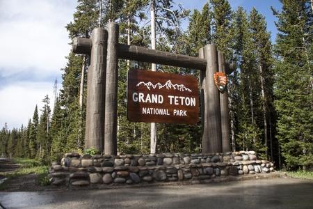 Grand Teton National Park sign Stock Photo