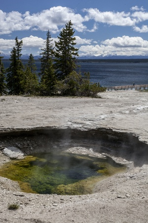 Geyser Basin in Yellowstone National Park in Wyoming Stock Photo
