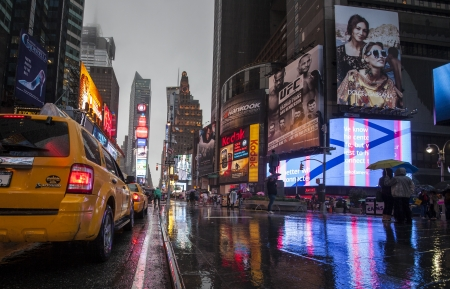 A wet Times Square, New York, NYC, USA
