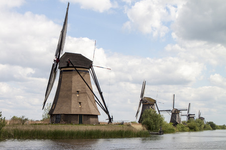dutch typical: Typical Dutch windmills, Kinderdijk near Rotterdam, the Netherlands
