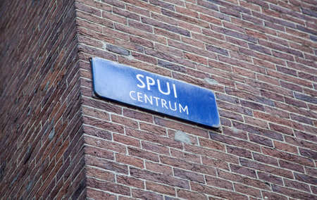 refers: Name tag that refers to the Spui in Amsterdam centrum
