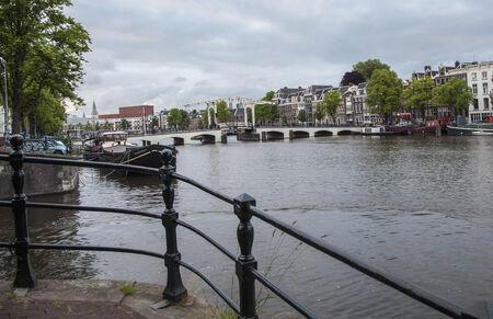 amstel river: Magere Brug (Skinny bridge) on the Amstel River, Amsterdam, the Netherlands