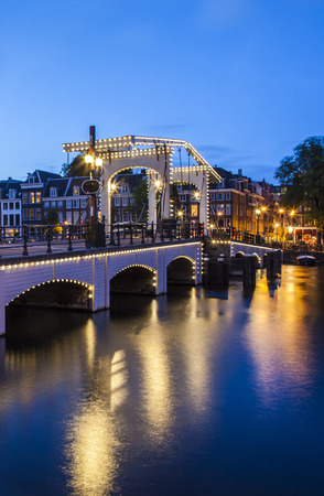 Magere brug (Skinny Bridge) over the Amstel, Amsterdam, the Netherlands