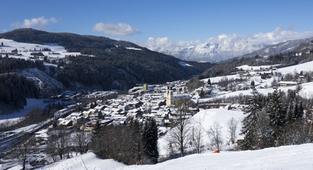 Panorama of a winter landscape and city at a ski area, Hopfgarten, Austria