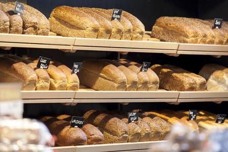 bakery store: Fresh bread on shelves Stock Photo