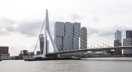 maas: Erasmus Bridge over the River Meuse near by the Rotterdam Maas Building and tower
