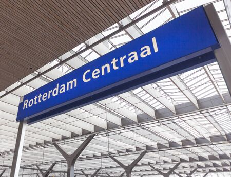 Construction and nameboard or Rotterdam Central Station