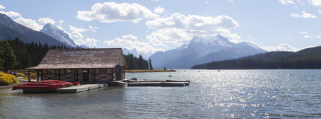 Maligne Lake with boathouse, Jasper National Park, Alberta Canada Editorial