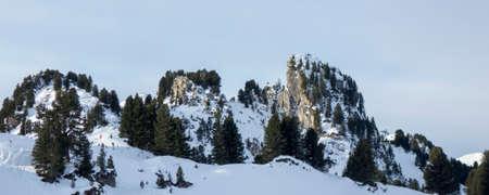 View of mountain peaks at the ski area Penken