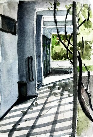 watercolor painting of external corridor brighten by natural light with shadow of ivy and louver on floor