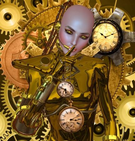 woman clock: Vapor Secret Punk Foto de archivo