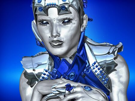 attired: Metal Thoughts - A futuristic robot attired in blue and silver metallic armor