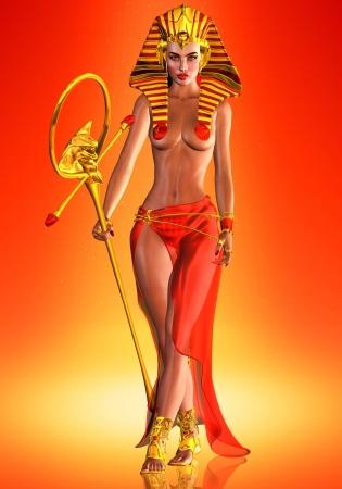 Farao-koningin - Dit is een eerbetoon aan een Egyptische koningin die zichzelf tot een farao-mannelijke heerser heeft gezalfd en haar stempel heeft gedrukt op de geschiedenis als een vrouw die regeerde met de gumption van een God Stockfoto