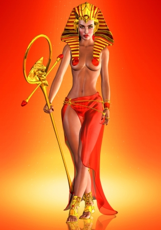 egyptian woman: Pharaoh Queen - This is an homage to an Egyptian queen who anointed herself a Pharaoh  male ruler  and went on to make her mark in history as a woman who ruled with the gumption of a God   Stock Photo