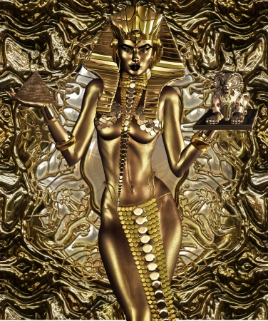 A Gift For Civilization - This Egyptian Goddess balances the gift of art and architecture for her people  Stock Photo