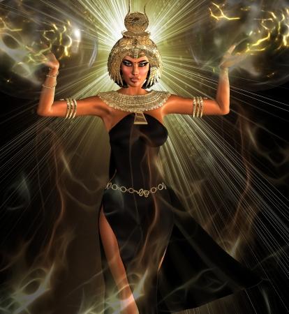 光のエジプト-エジプト s 彼女自身に目覚めの夜明けの前に、光男と彼の天の橋渡しに登場 写真素材
