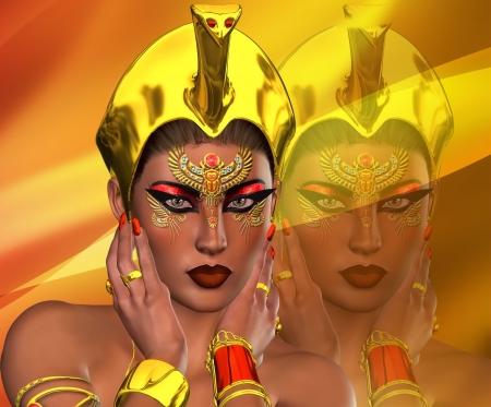 woman mirror: The Beauty Of Egypt Stock Photo