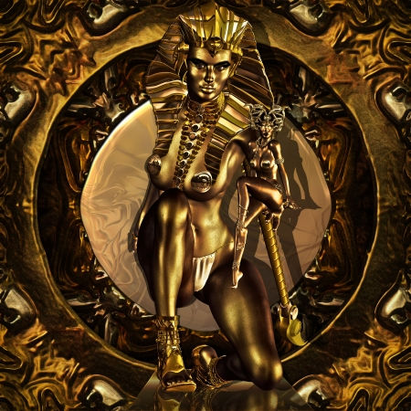 A Golden Pharaoh Goddess presenting the legend of Medusa to the ancient world before it was written. Stock fotó