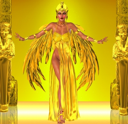 Flight Into Egyptian Fantasy  Adorned in a rich gold dress with golden wings; this Egyptian queen prepares to fly into the heart of the Pharaoh  Stock Photo