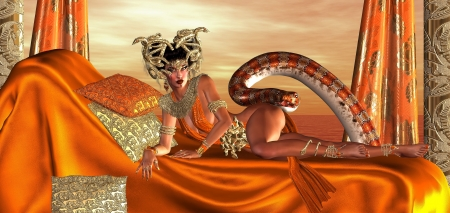 bedsheets: The Vanguard Of The Sacred Snakes   Visit the mythical world of the snake people in this picturesque render  Stock Photo