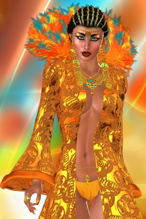 Feathered Wish, Abstract Background This is a rendition of a gorgeous woman dressed in an exquisite orange robe enhanced with a set of opulent feathers on an abstract background  lose up version  Stock Photo