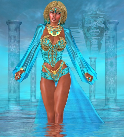 stupendous: Ocean Goddess Standing In Water   Deep within the oceans of the heart lives a goddess of stupendous beauty who often tries to steer us on to the path of the righteous