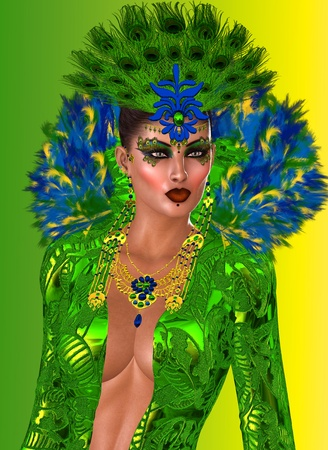 Peacock Queen  Fashioned in opulent feathers of blues and greens is the exquisite gown worn by the Goddess who breathed life into all the peacocks of the world