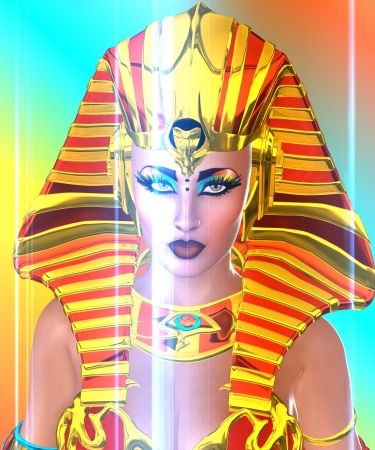 Close up face shot of Egyptian woman Pharaoh on abstract background  Suitable for use as artistic depiction of Cleopatra, Nefertiti or any woman Pharaoh
