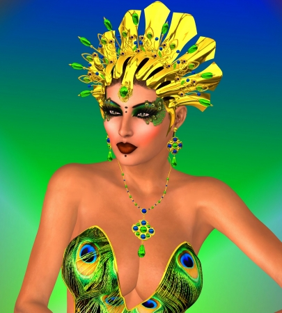 Unique face of a woman in a confident pose wearing a gold headdress and peacock colored eye make up  Stock Photo