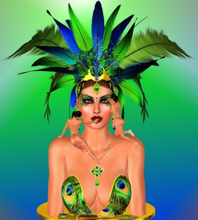 Beautiful face of a woman with make up being applied by miniature artists  A green and blue feather headdress makes a powerful fashion statement set against an abstract background