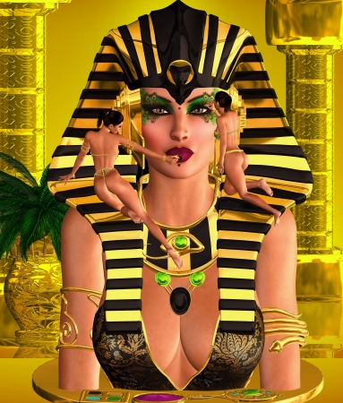 Face of a beautiful woman Pharaoh with make up being applied by her servants  Her size communicates the Pharaoh s God like status among her people  photo