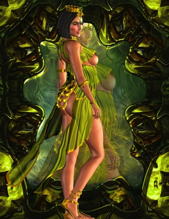 A beautiful Egyptian woman stands in front of a mirror baring her breasts and buttocks  Posing in a green fashion dress and gold crown she exudes confidence and sensuality