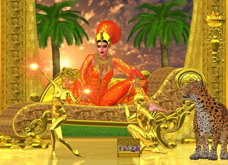 An Egyptian royal sits on her chaise lounge with golden servants, one who presents her with gems, while the other entertains her with dance   A leopard looks on while offering her protection  Stock Photo