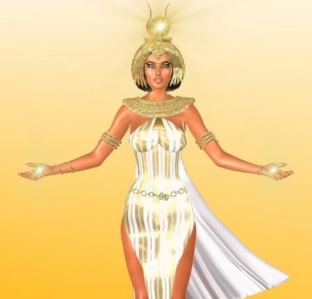 그는 이집트의 화이트 라이트 그녀는 그녀의 머리와 손에 따라 조명의 상징 표시등이 금 머리 장식과 목걸이 흰 옷을 입고 빛의 이집트 여신의 예술적  스톡 콘텐츠