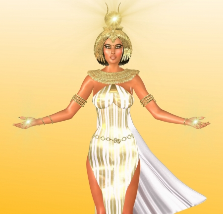 nile: he White Light of Egypt  An artistic depiction of an Egyptian Goddess of light  Dressed in white with a gold headdress and necklace she has symbolic lights of illumination upon her head and hands  Stock Photo