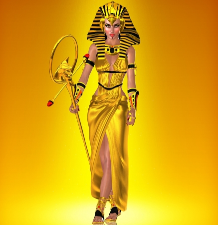 queen nefertiti: Golden Pharaoh Queen Stock Photo