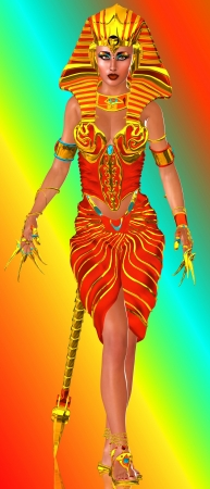 egyptian cobra: Un concettuale immagine di una bella regina faraone in piedi in un potente postura Il suo corpo � decorato con gioielli tra cui lunghe d'oro accessori per unghie delle dita il suo vestito rosso � anche cucita con oro