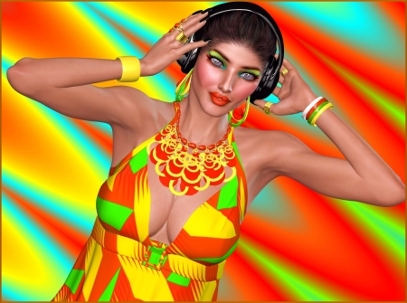 freak out: Dj girl with headphones on abstract background