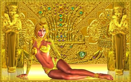 queen nefertiti: Guardian of the golden temple Stock Photo
