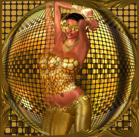 Disco ball dance girl  A sexy girl dances in front of a gold disco ball while wearing gold sunglasses, pants and a halter top  photo