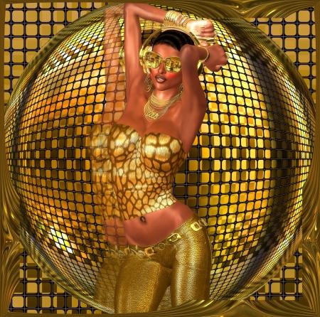 Discobal dans meisje Een sexy meisje danst in de voorkant van een gouden disco bal, terwijl het dragen van gouden zonnebril, broek en een topje Stockfoto