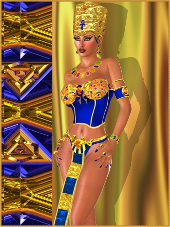 Egyptian Beauty with bejeweled eye makeup, bra and crown against a gold, blue and copper abstract background