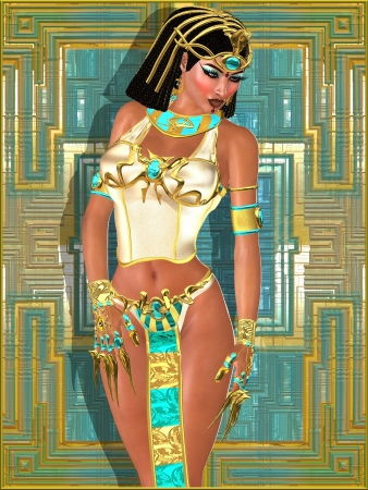 halter: A beautiful Egyptian princess on abstract gold and turquoise background