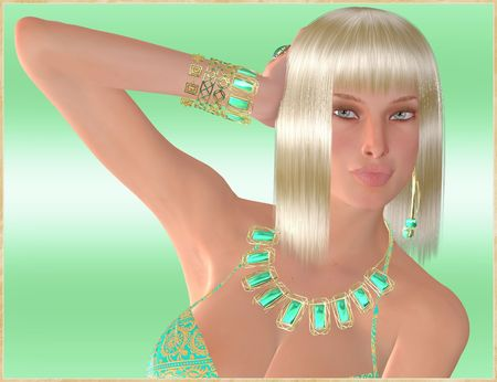 platinum: Beautiful blonde girl on abstract green background with her hand in her hair looks over at you with curious eyes