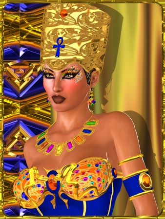 Egyptian Beauty with bejeweled eye makeup, bra and crown against a gold, blue and copper abstract background  photo