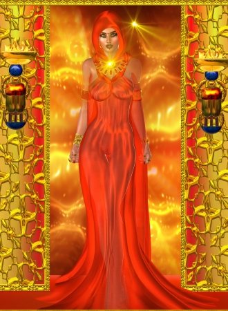 Spiritual woman in red onabstract background