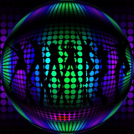 Disco ball and silhouette of dancers photo