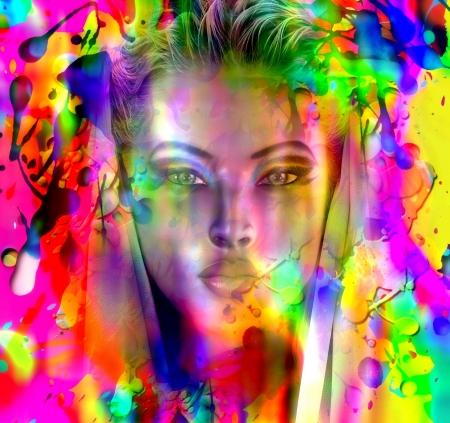 apparition: An apparition of beauty through a splattered paint Stock Photo