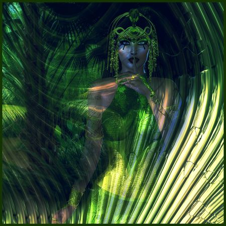 egyptian woman: Abstract green Egyptian Goddess of the Earth Stock Photo