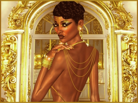 Elegant evening, open back,with gold jewels and makeup photo